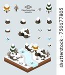 boulders  rocks  and cave set... | Shutterstock .eps vector #750177805