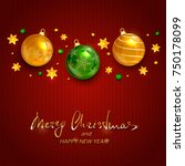 lettering merry christmas and... | Shutterstock .eps vector #750178099