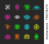 travel neon icon set  vector... | Shutterstock .eps vector #750178174