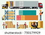 logistic warehouse with storage ... | Shutterstock .eps vector #750179929