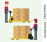worker man towing hand fork...   Shutterstock .eps vector #750179941