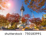 colorful leaves at namsan...   Shutterstock . vector #750183991