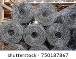 rolls of iron mesh  wire mesh ... | Shutterstock . vector #750187867