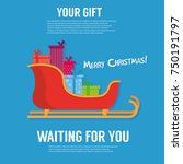 santa sleigh  gifts icon.... | Shutterstock .eps vector #750191797