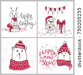 merry christmas 2018 collection ... | Shutterstock .eps vector #750205255