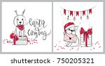 merry christmas illustrations.... | Shutterstock .eps vector #750205321