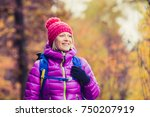 hiking woman with backpack... | Shutterstock . vector #750207919