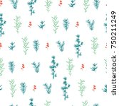 nordic seamless pattern with... | Shutterstock .eps vector #750211249