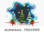 beautiful scenery in winter and ... | Shutterstock .eps vector #750215905