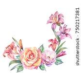 watercolor flowers corner | Shutterstock . vector #750217381