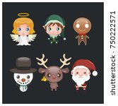 set of six cute christmas... | Shutterstock .eps vector #750222571