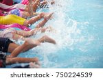 group of children at swimming... | Shutterstock . vector #750224539