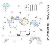 cute unicorn print for kids.... | Shutterstock .eps vector #750224731
