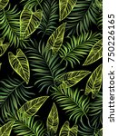 green palm leaves on the black... | Shutterstock .eps vector #750226165