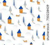 hand drawn seamless pattern... | Shutterstock .eps vector #750228439