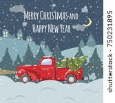 christmas and new year greeting ... | Shutterstock .eps vector #750231895