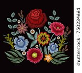 embroidery spring wild flowers...   Shutterstock .eps vector #750234661