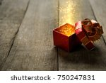red christmas gift box with... | Shutterstock . vector #750247831
