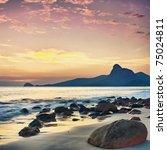Sunrise Over The Sea. Stone On...