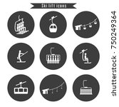 Set Of Ski Cable Lift Icons Fo...