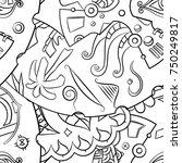 seamless mehndi vector pattern. ... | Shutterstock .eps vector #750249817