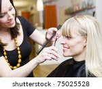 blond woman at the hair salon | Shutterstock . vector #75025528