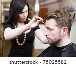 man at the hair salon situation | Shutterstock . vector #75025582