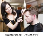 man at the hair salon situation | Shutterstock . vector #75025594