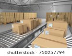 warehouse boxes. boxes in... | Shutterstock . vector #750257794