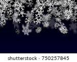 snowfall background. falling... | Shutterstock .eps vector #750257845