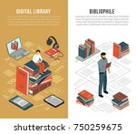 set of two vertical isometric... | Shutterstock .eps vector #750259675
