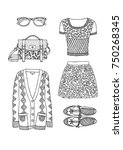 hand drawn clothes set. fashion ... | Shutterstock .eps vector #750268345
