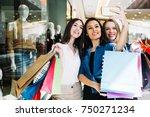 group of cute girl friends... | Shutterstock . vector #750271234