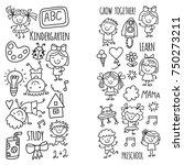 kids drawing kindergarten...   Shutterstock .eps vector #750273211