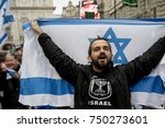 4th November 2017, London, United Kingdom:-Pro Israeli protesters counter demonstrate a pro Palestine rally in central London - stock photo