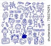 kids drawing kindergarten...   Shutterstock .eps vector #750274291