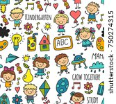 seamless pattern kids drawing... | Shutterstock .eps vector #750274315