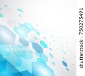 blue polygon technology... | Shutterstock .eps vector #750275491