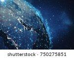 3d rendering global network...   Shutterstock . vector #750275851