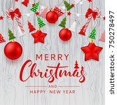 merry christmas beautiful card. ... | Shutterstock .eps vector #750278497