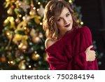 portrait a beautiful young... | Shutterstock . vector #750284194