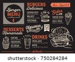 burger food menu for restaurant ... | Shutterstock .eps vector #750284284