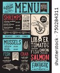 seafood menu for restaurant and ... | Shutterstock .eps vector #750284311