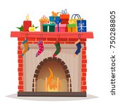 christmas fireplace with gifts  ... | Shutterstock .eps vector #750288805