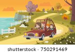 cartoon family driving a car in ... | Shutterstock .eps vector #750291469