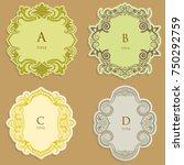 set vector label  vintage frame ... | Shutterstock .eps vector #750292759
