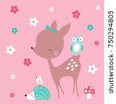 cute deer with hedgehog and... | Shutterstock .eps vector #750294805