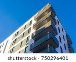 modern apartment building blue... | Shutterstock . vector #750296401