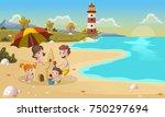 cartoon family building sand... | Shutterstock .eps vector #750297694