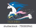 cartoon unicorn on a wheelchair ...   Shutterstock .eps vector #750303961